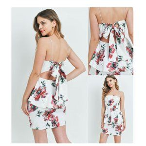 Floral Peplum Open Tie-Back Peplum Dress